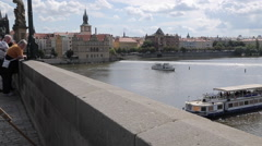 View of Charles Bridge & Vltava, Old Town and River Boats, Prague, Czech Stock Footage