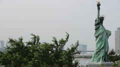 Stock Video Footage of Statue of Liberty at Odaiba.