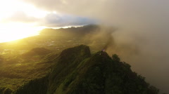 Stock Video Footage of Mount Olomana scenic with people.