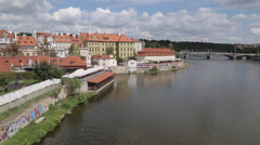 View of Charles Bridge & Vltava, Old Town and River Boats, Prague, Czech - stock footage