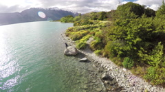 Lake Wakatipu aerial 4K. Stock Footage
