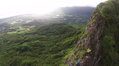 Hawaii hiking lifestyle aerial. Stock Footage