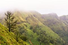 The mist flow over ridge mountains. Stock Photos