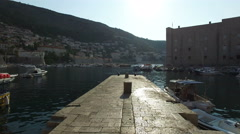 Marina in the sun. Dubrovnik, Croatia - stock footage