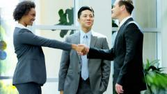 Male female handshake by multi ethnic real estate team in the office - stock footage