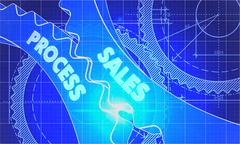 Sales Process on Blueprint of Cogs - stock illustration