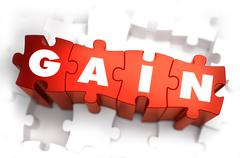 Gain - Text on Red Puzzles Stock Illustration