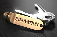 Stock Illustration of Keys to Innovation. Concept on Golden Keychain