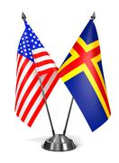 USA and Aland - Miniature Flags Stock Illustration
