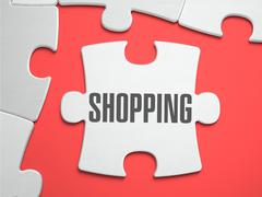 Shopping - Puzzle on the Place of Missing Pieces Stock Illustration