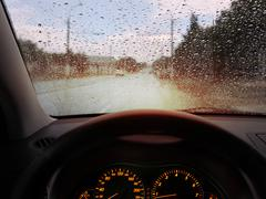 raindrops on windshield - stock photo