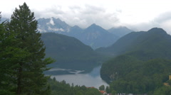 The amazing Alps with the Alpsee near Neuschwanstein Castle Stock Footage