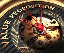 Stock Illustration of Value Proposition on Black-Golden Watch Face