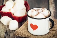 Stock Photo of Hot Chocolate and Marshmallows in vintage enamel cup