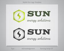 Sun - energy solutions logo template for eco corporation, company, firm or other - stock illustration