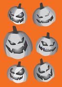 Pumpkin Smiley Faces Cut-out Isolated on Orange Background - stock illustration