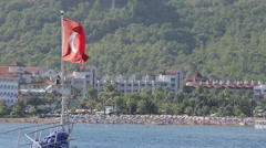 Stock Video Footage of Turkish Flag, Iclemer, Marmaris, Anatolia, Turkey