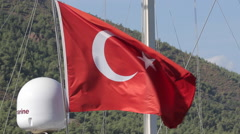 Turkish Flag, Iclemer, Marmaris, Anatolia, Turkey Stock Footage