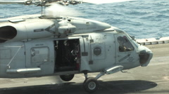 SH-60 Helicopter takeoff. Stock Footage