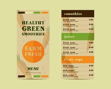 Vegetable smoothie menu vector concept. Fresh elements for cafe or restaurant Piirros