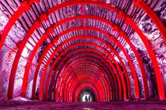 Stock Photo of Underground multicolored tunnel at Salt Cathedral Zipaquira, is a main landmark
