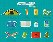 Camping with kids stickers and labels. Set of flat adventure traveling elements - stock illustration