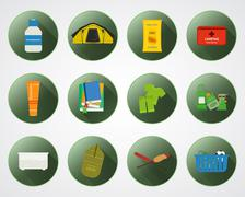 Camping with kids buttons with shadow. Set of flat adventure traveling elements Stock Illustration