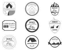 Set of retro badges and label logo graphics. Camping badges and travel logo - stock illustration
