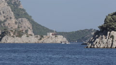 Boat on Aegean Sea near Iclemer, Marmaris, Anatolia, Turkey Stock Footage