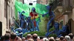 Major de Gracia Festival  in Barcelona, Spain. Stock Footage