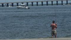 4K Surf Fishing. Stock Footage