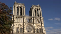 The Notre Dame Cathedral (in 4k) in Paris, France. Stock Footage