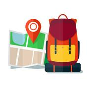Travel Map with backpack.  Flat Icons, Tourist, Sightseeing, Journey - stock illustration