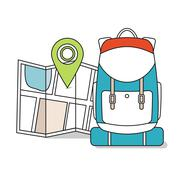 Travel Map with backpack.  Line Icons, Tourist, Sightseeing, Journey - stock illustration