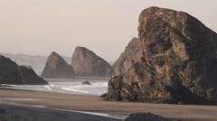 Oregon Coast Scenic: Morning Light @ Cape Sebastian Stock Footage