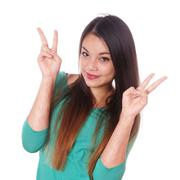 Girl with scars from self-harm making victory sign Stock Photos