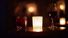 Stock Video Footage of Drinks near candlelight.