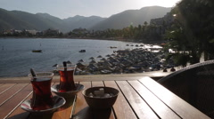 Turkish Tea & Iclemer Bay, Marmaris, Anatolia, Turkey Stock Footage