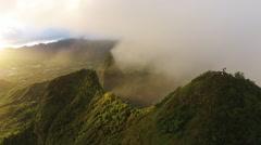 Hawaii aerial pan, Mt Olomana with people. Stock Footage