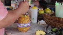 Local Drink Making on the Beach, Nuevo Vallarta, Nayarit, Puerto Vallarta, Stock Footage