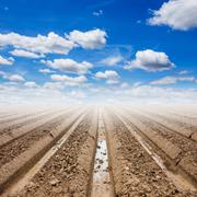 Soil preparation and blue sky in field agriculture Stock Photos