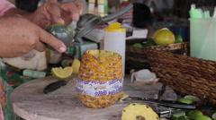 Local Drink Making on the Beach, Nuevo Vallarta, Nayarit, Puerto Vallarta, - stock footage