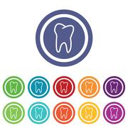 Stock Illustration of Tooth signs colored set