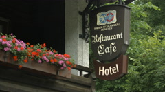 Alpenstuben Hotel, Restaurant and Cafe in Schwangau, Neuschwanstein Castle Stock Footage