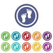 Footprint signs colored set Stock Illustration