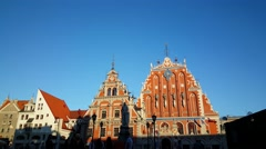 House of the Blackheads in Riga Latvia Stock Footage