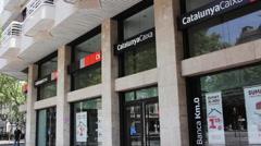 Exterior 'Catalunya Caixa' bank. - stock footage