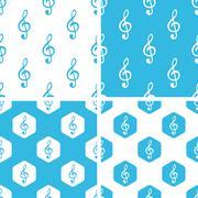 Treble clef patterns set - stock illustration