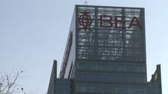 Bank of East Asia building in Beijing, China Stock Footage