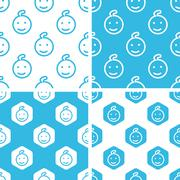 Child face patterns set - stock illustration